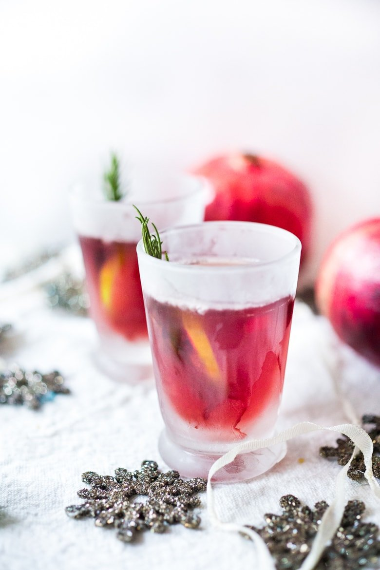 Pomegranate Drop with Rosemary ...a refreshing holiday cocktail. | www.feastingathome.com