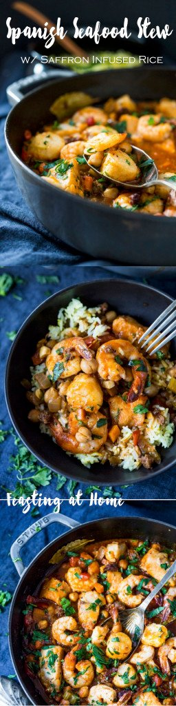 Spanish Seafood Stew with Chorizo and Saffron infused rice...an easy flavorful healthy dinner! | www.feastingathome.com