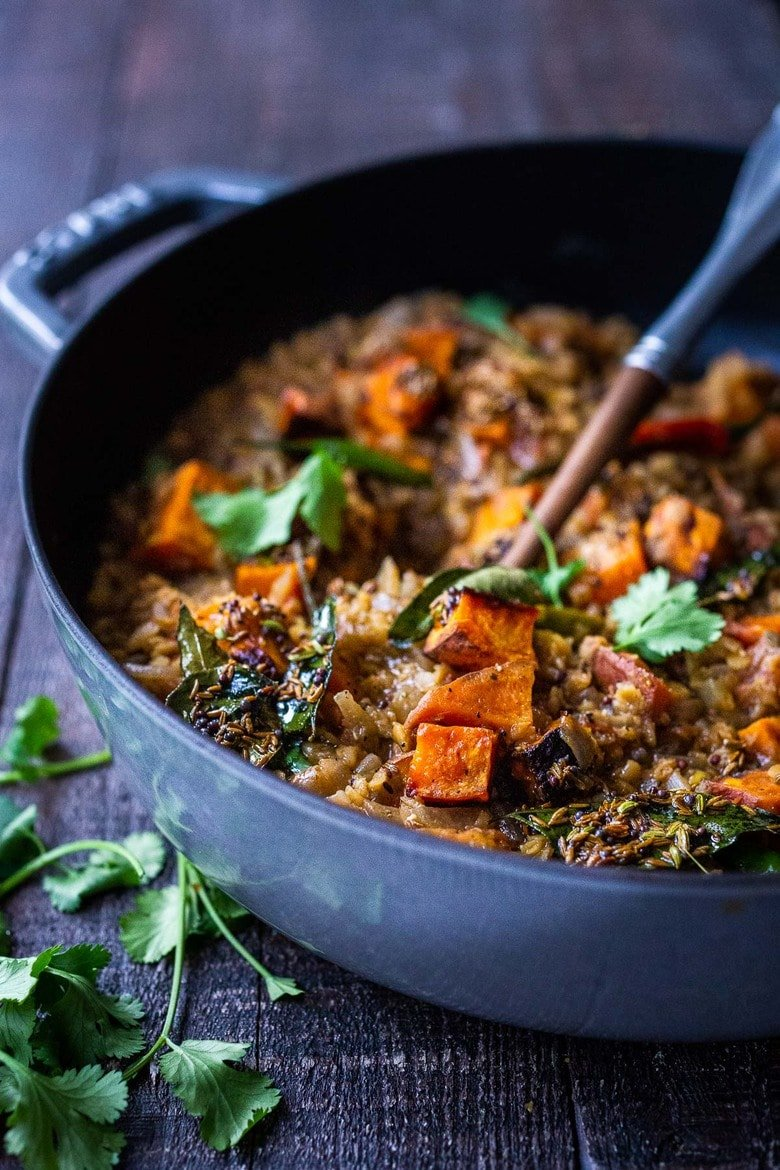 "Sweet Potato Dal-a comforting Lentil Dal with Sweet Potatoes and a flavorful ""tempering oil"". A 30 minute vegetarian meal that is simple to make and full of fragrant Indian spices. Vegan adaptable! #lentils #dal #lentildal #sweetpotatodal #sweetpotatoes #vegan #glutenfree"
