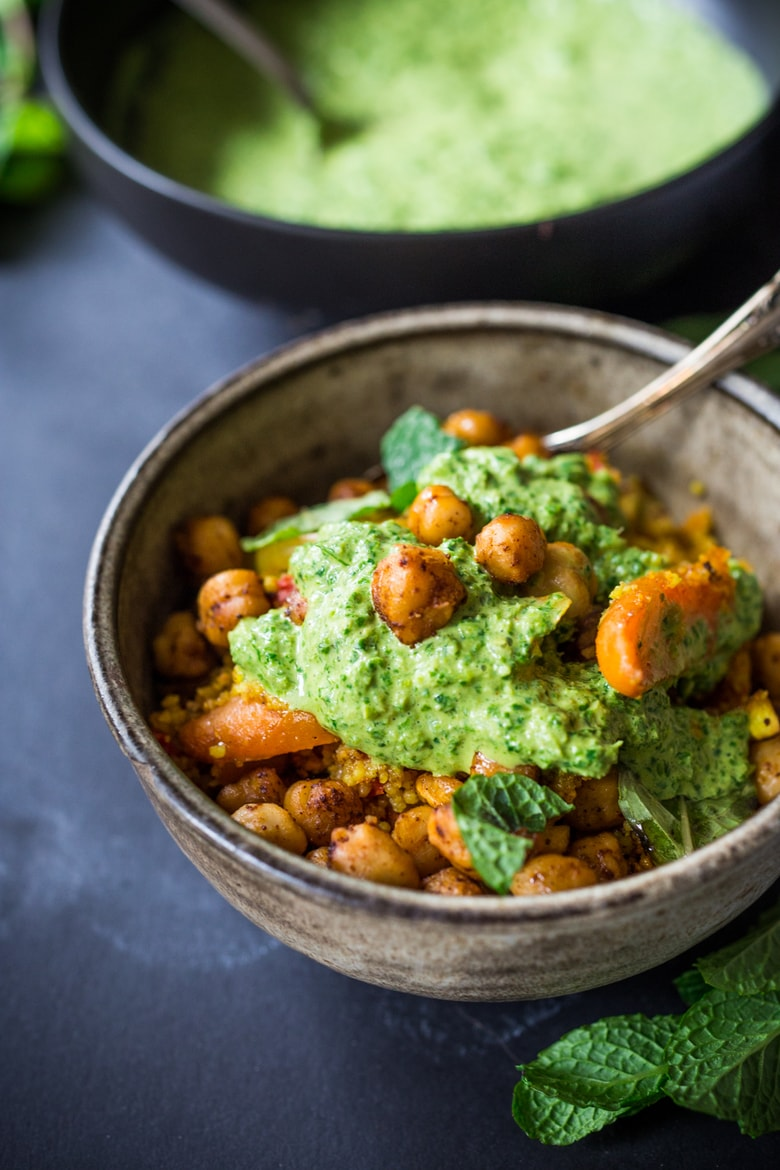 A simple, delicious Tunisian-styleTagine w/ Chicken or Chickpeas, Cous Cous & flavorful Green Harissa Sauce, a one-pan meal. Vegan & GF Adaptable! | Feasting at Home| #tagine #couscous #moroccan #moroccantagine #tunisian #vegan #gluten-free