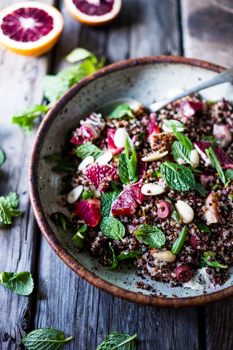 Moroccan Quinoa and Blood Orange Salad with Almonds, olives and mint. #quinoarecipes