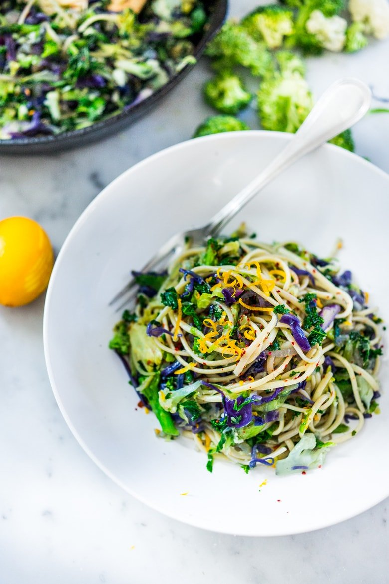 Garlicky Cruciferous Pasta- a simple vegan pasta dish loaded with cruciferous vegetables with garlic, lemon zest and chili flakes. | www.feastingathom.com
