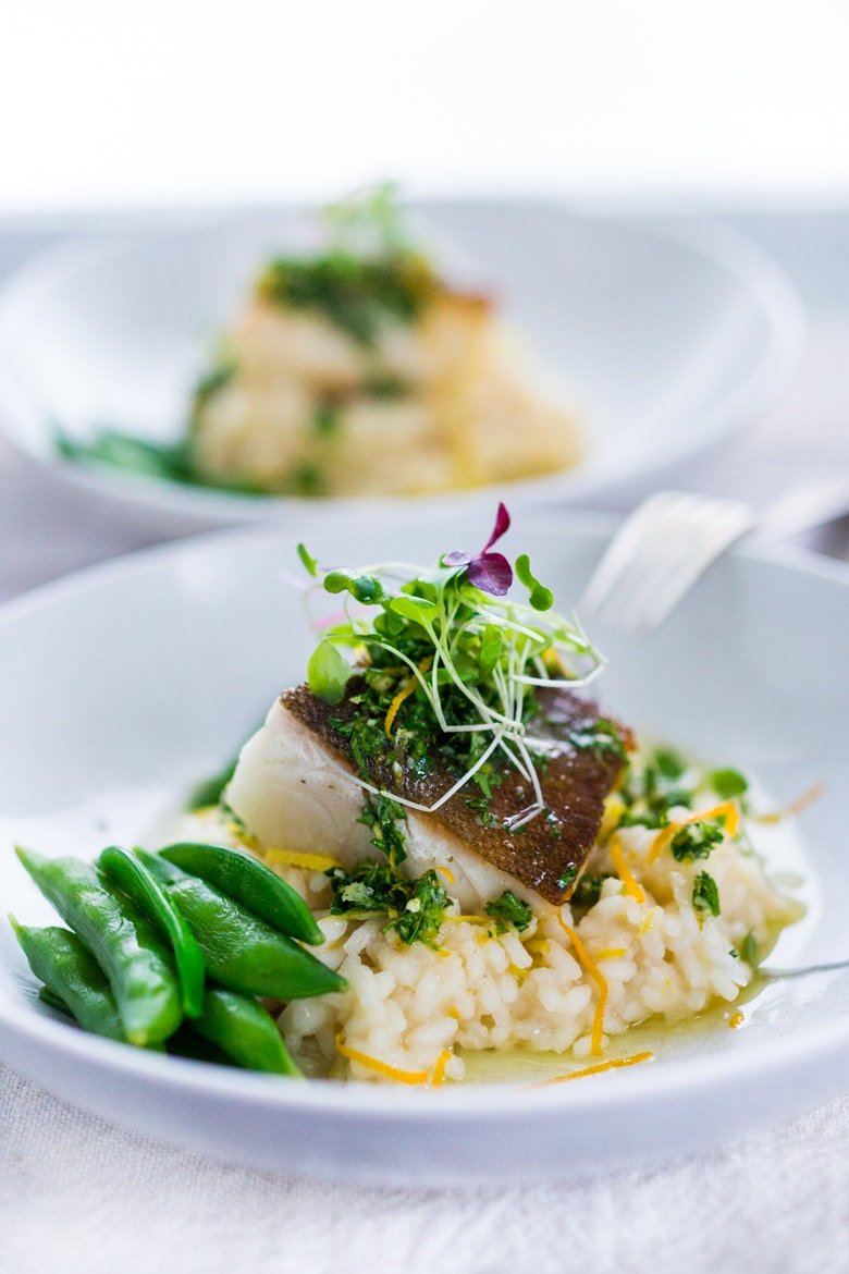 Seared Black Cod (or halibut, sea bass or scallops) with Meyer Lemon Risotto and Gremolata- a flavorful Italian herb sauce. | #seabass #halibut #risotto #meyerlemon #gremolata ww.feastingathome.com