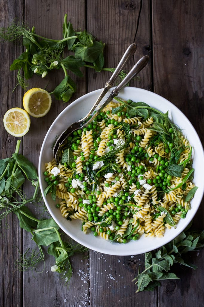 15 HEALTHY, VEGAN PASTA RECIPES (with MORE veggies than pasta!) ... like this Spring Pea Pasta with lemon, truffle oil and tarragon! Keep it vegan or add goat cheese. #pasta #springpasta #veganpastasalad #veganpasta #veganrecipes