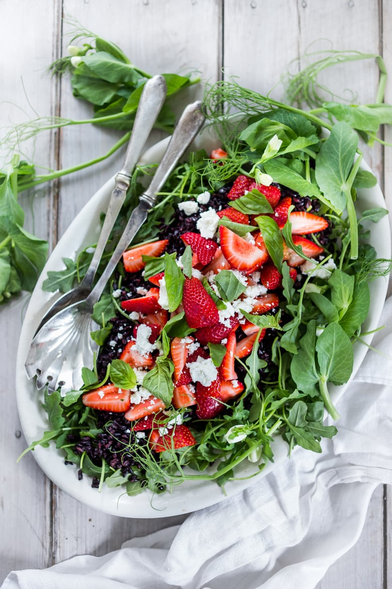 Strawberry Arugula Salad with Basil and Black Rice... with crumbled Goat cheese and a simple Balsamic dressing. # strawberry salad #arugula #strawberries #salad #blackrice | www.feastingathome.com