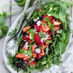Strawberry Basil and Black Rice Salad with Arugula and Goat cheese, and a Balsamic Maple dressing. | www.feastingathome.com