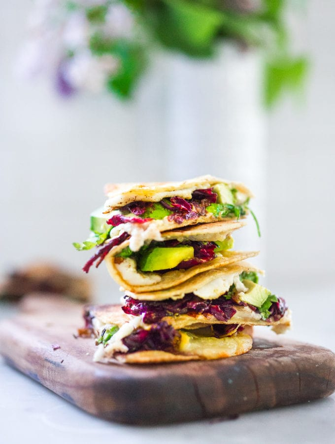 "Vegetarian Hibiscus Flower Quesadillas- so ""meaty"" and delicious, the flowers are sauted with onion and garlic and add great texture and flavor! 