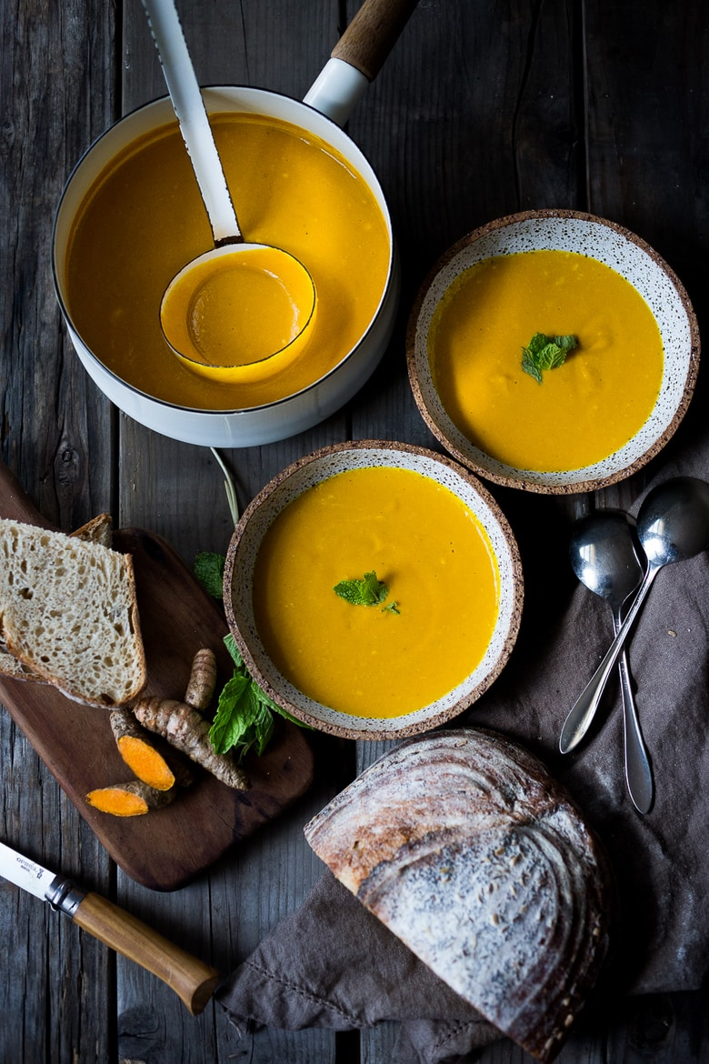 this Glowing Carrot Soup with Turmeric and with Coconut Milk is light, luscious, earthy and flavorful. Fresh turmeric root gives it a hint of the exotic.