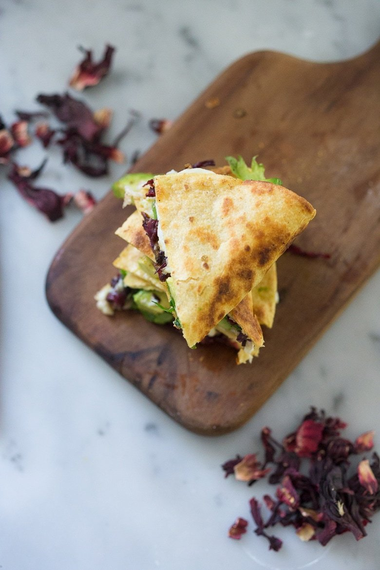 """Vegetarian Hibiscus Flower Quesadillas- so """"meaty"""" and delicious, the flowers are sauted with onion and garlic and add great texture and flavor! 