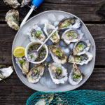 Fresh Oysters with Mustard Seed Mignonette with cucumber, shallot and dill. | #oysters #appetizers #partyappetizers www.feastingathome.com
