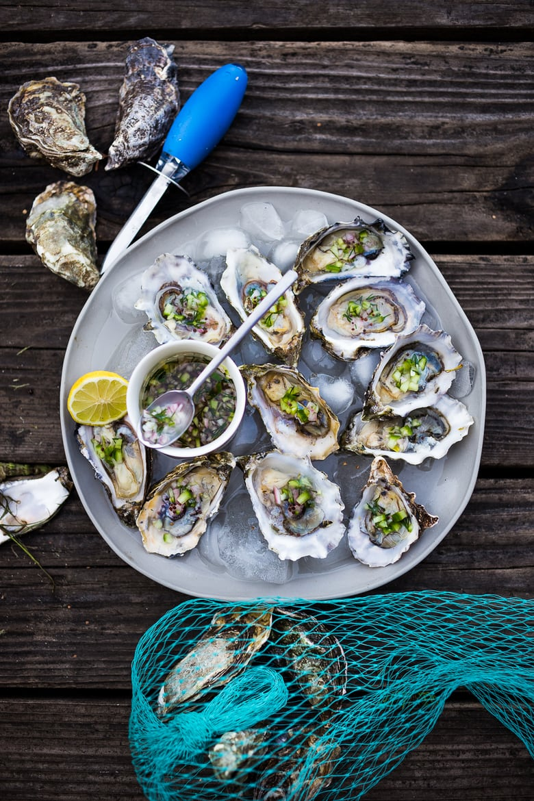 Fresh Oysters with Mustard Seed, Cucumber, Dill Mignonette