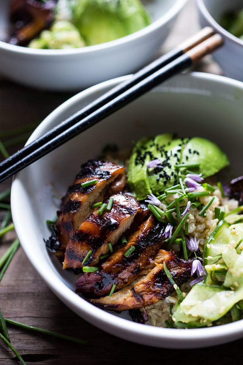 Grilled Japanese Farm Style Teriyaki Bowl - can be made with grilled chicken or portobellos, with refreshing cucumber sesame ribbon salad, avocado, and sweet brown rice. | www.feastingathome.com