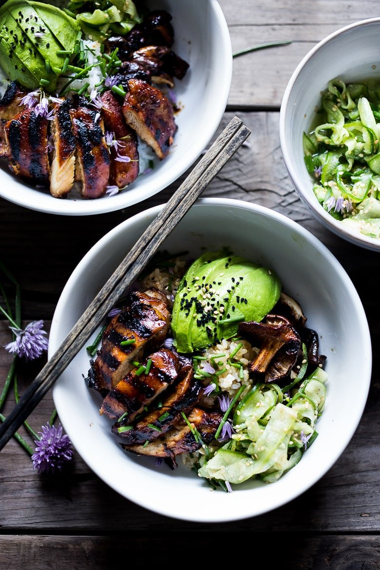 Grilled Japanese Farm Style Teriyaki Bowl - can be made with grilled chicken or portobellos, with refreshing cucumber sesame ribbon salad, avocado, and sweet brown rice. + 15 Delicious Grilling Recipes for Summer!