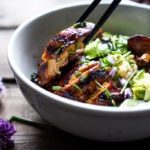 apanese Farm Style Teriyaki Bowl - can be made with grilled chicken or portobellos, with refreshing cucumber sesame ribbon salad, avocado, and sweet brown rice. | www.feastingathome.com #bowl #portobello #grill #grilling #grilled #grilledchicken #teriyaki