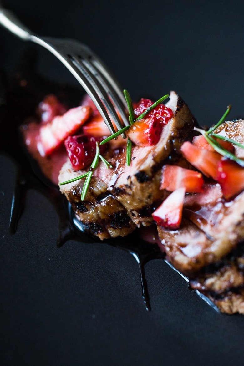 Grilled Pork Loin with Rosemary and Strawberries | www.feastingathome.com