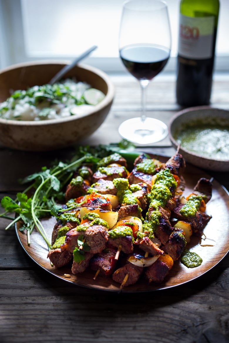 Grilled Chilean Beef Kabobs with Chimichurri Sauce and Cilantro Rice. An easy flavorful weeknight meal. | www.feastingathome.com #beef #skewers #chimichurri #grilling #kabobs #beefkabobs