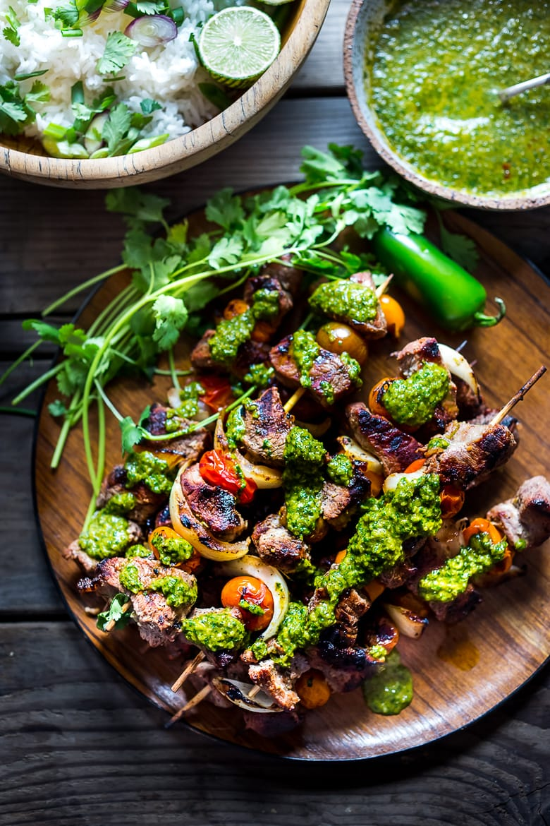 Grilled Chilean Beef Skewers with Smoky Chimichurri Sauce and Cilantro Rice. An easy flavorful weeknight meal. + 15 Delicious Grilling Recipes for Summer!