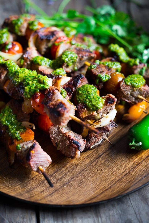 Grilled Chilean Beef Skewers W Smokey Chimichurri