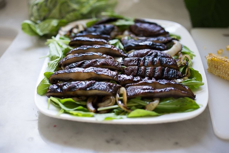 A simple tasty recipe for Grilled Portobello Steak Salad with grilled sweet onions, grilled corn, tomatoes, avocado and Smokey Lime Dressing. Vegan GF
