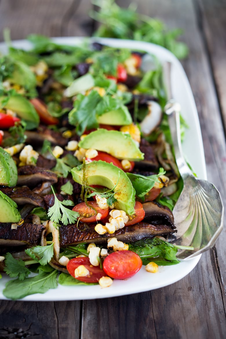 Grilled Portobello Salad with Avocado and Lime...a hearty satisfying meal that is vegan and gluten-free! | www.feastingathome.com
