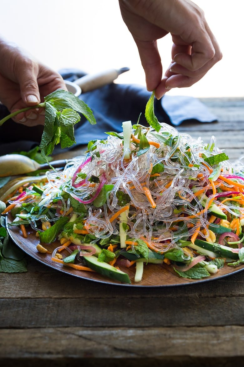 Vietnamese Vermicelli Salad -loaded up with fresh veggies and herbs! This vegan salad is bursting with flavor and sooooo healthy, delicious and light! | #vermicelli #vermicellirecipes #vermicellisalad #vietnamesesalad www.feastingathome.com