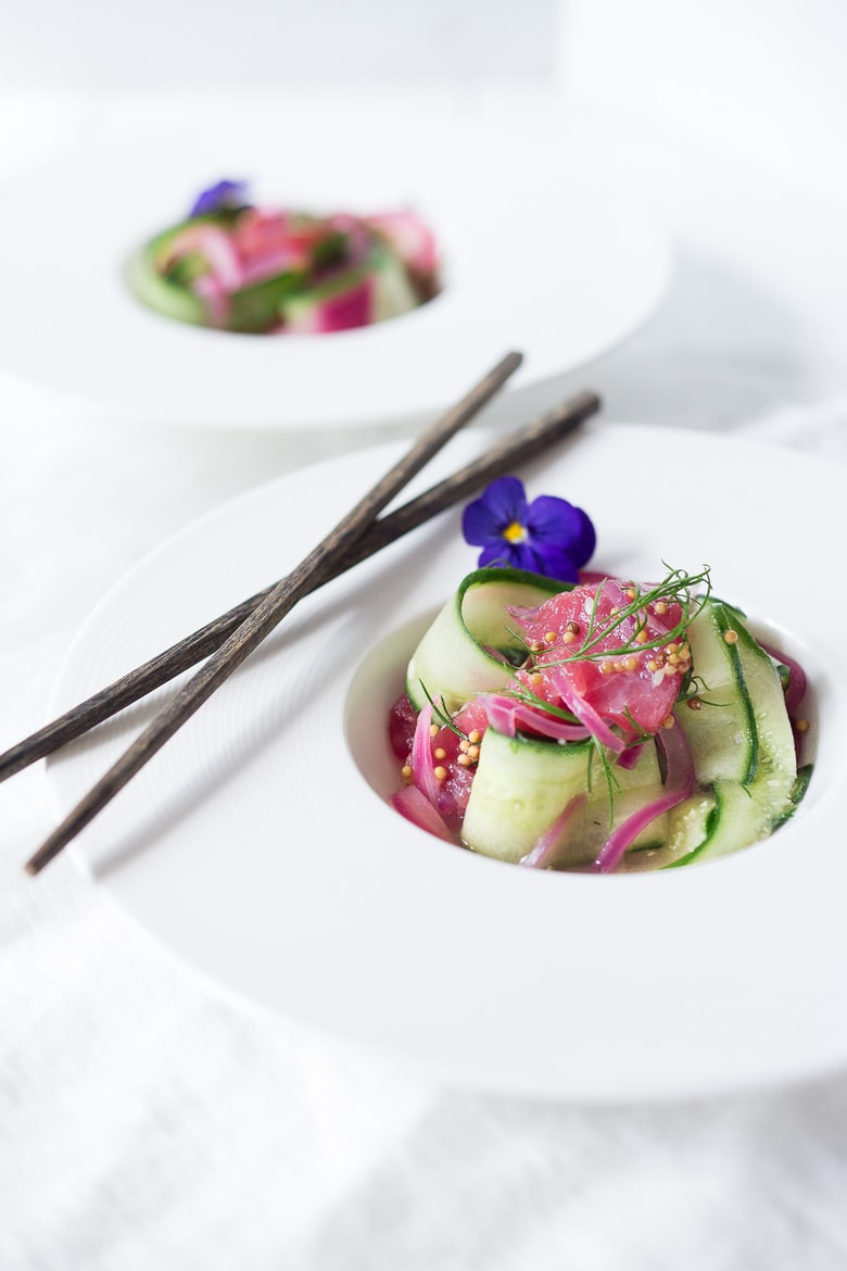 Cucumber Ahi Salad with pickled onion, dill and mustard seeds- a simple healthy meal that's low carb, gluten free, and paleo. | www.feastingathome.com