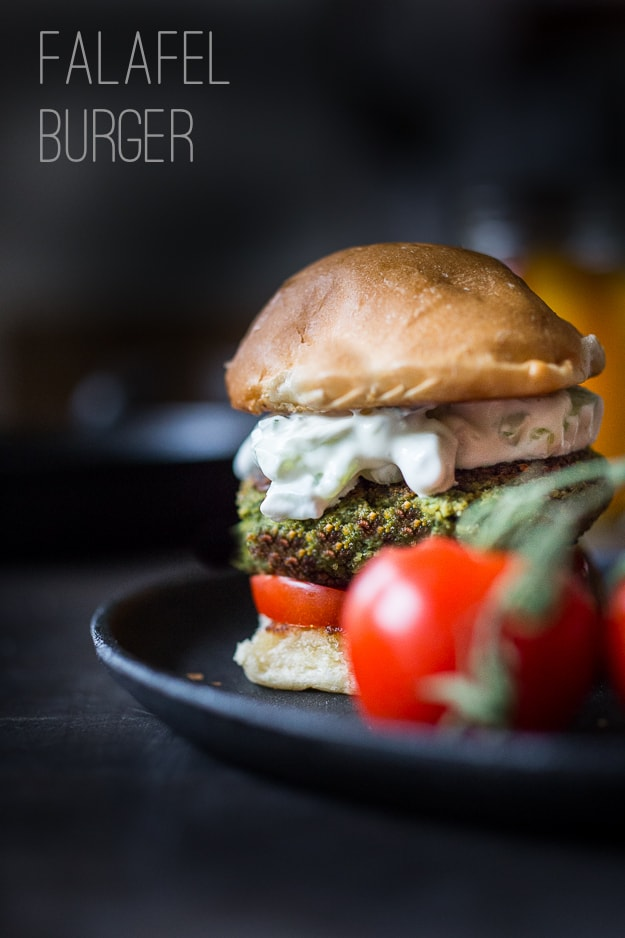 "10 LIGHT FRESH SUMMER MEALS | A flavorful Middle Eastern Style burger, or ""falafel Burger"" with tzatziki Sauce 