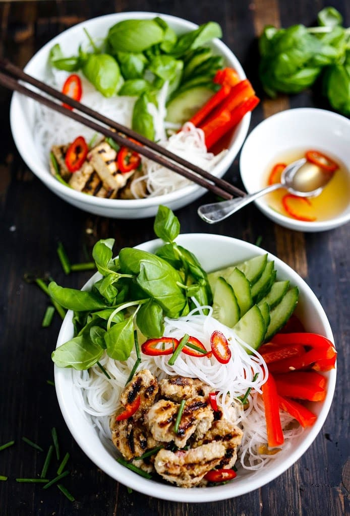 EAT CLEAN with these 20 simple Plant-Based Meals!!! | Vietnamese Verimecelli Bowl with lemongrass chicken or tofu- a healthy light and refreshing summer meal bursting with flavor! VEGAN & GF | www.feastingathome.com