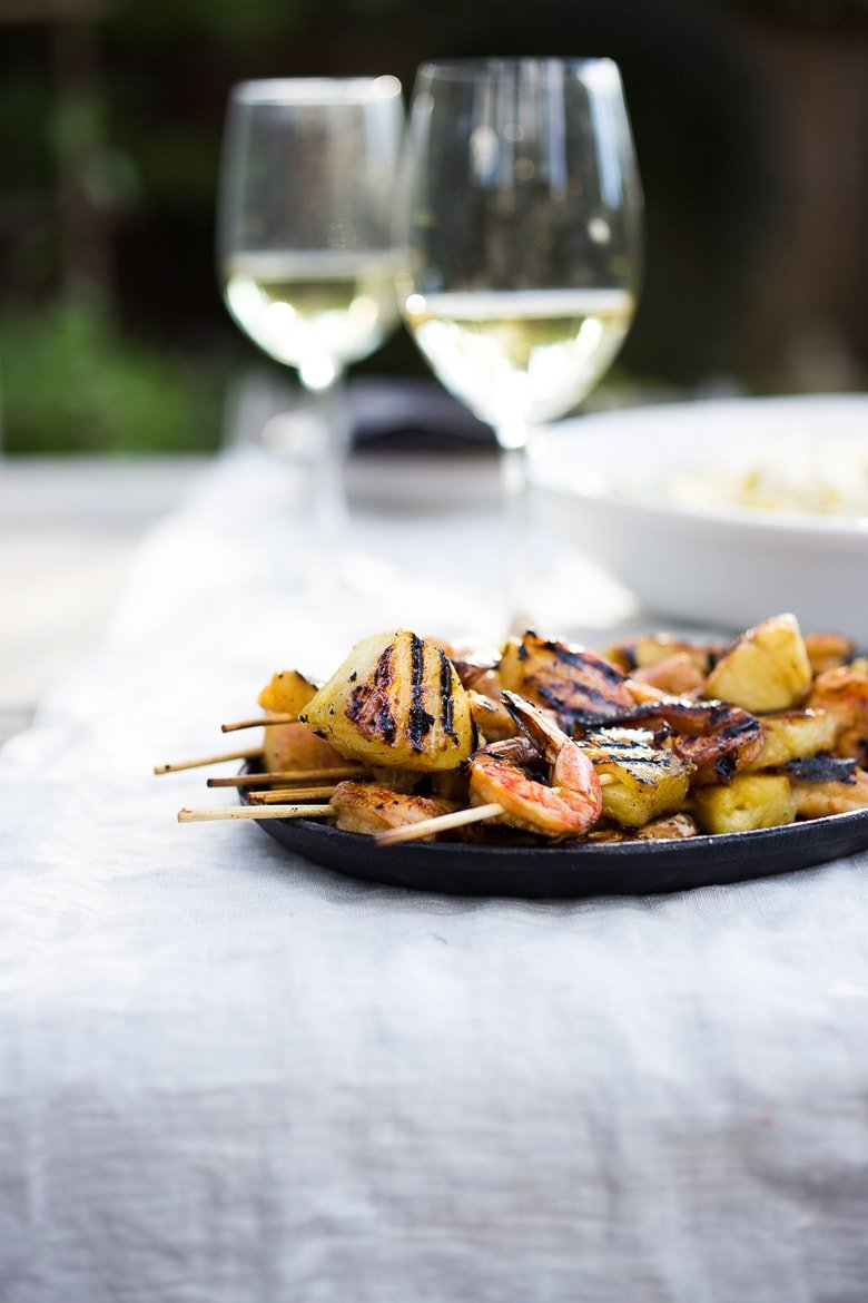Grilled Chipotle Shrimp and Pineapple Skewers- Juicy, sweet and tangy pineapple snuggled up with subtly spicy smokey shrimp, so good!!! Served with Jicama Mango Slaw! + 15 Summer Grilling Recipes! | www.feastingathome.com