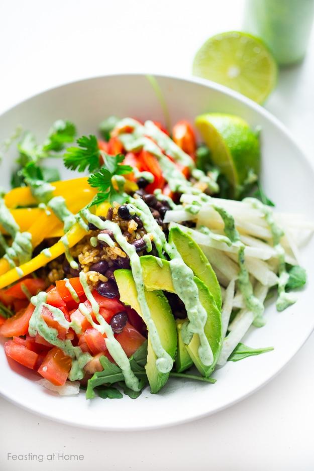 10 LIGHT FRESH SUMMER MEALS |VEGGIE BURRITO BOWL - with creamy vegan Cilantro Lime Sauce.