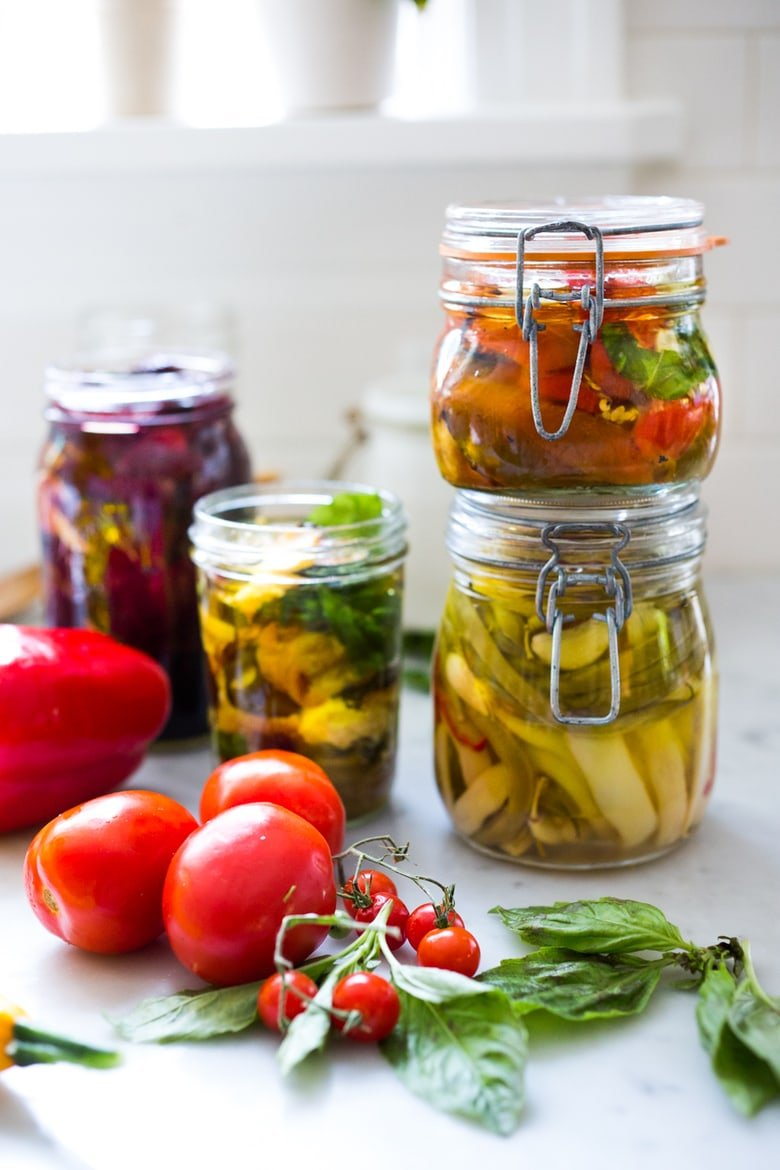 Extend summer's bounty by Preserving Veggies in Olive Oil- serve with Cheese or Charcuterie boards and Mezze Platters. Delicious, quick & simple! | www.feastingathome.com
