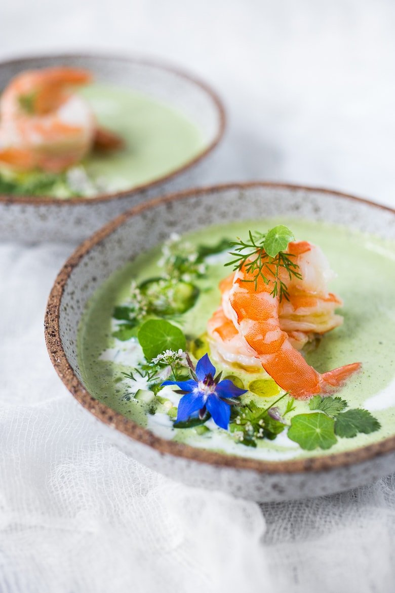 Cool and refreshing Cucumber Gazpacho with yogurt, cilantro, coriander and lime. Top this with shrimp or keep it vegetarian! So tasty. #gazpacho #cucumbergazpacho #cucumbersoup #coldsoup #chilledsoup