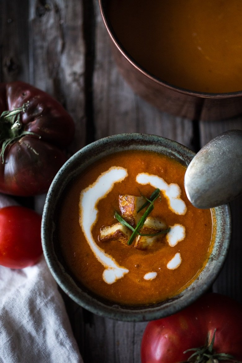 Roasted Tomato Soup with Haloumi Croutons, Yogurt & Sumac | Feasting ...