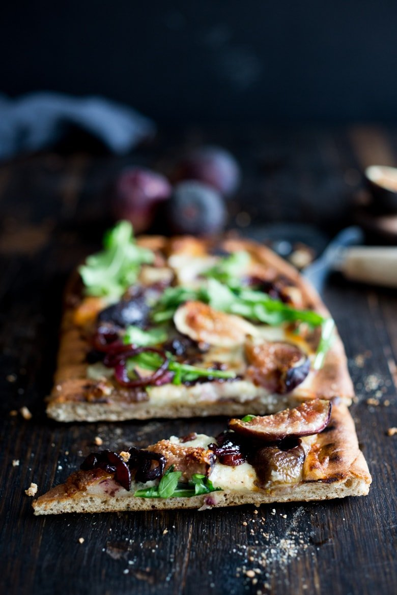 Grilled Pizza with Fresh Figs, Balsamic Onions, Gorganzola and Arugula- the perfect combination of flavors! | www.feastingathome.com
