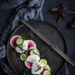 Scallop Crudo with Watermelon Radish, cucumber and Shiso... and a step by step on how to make Crudo, The Italian Version of Sushi- so simple, delicious, and healthy! | www.feastingathome.com