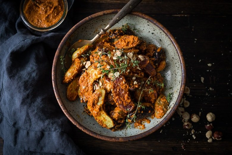 Roasted fingerling Potatoes with Romesco Sauce
