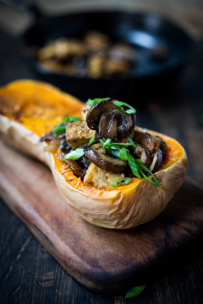 Stuffed Butternut with Miso Sesame Mushrooms and Tofu- Vegan! | www.feastingathome.com