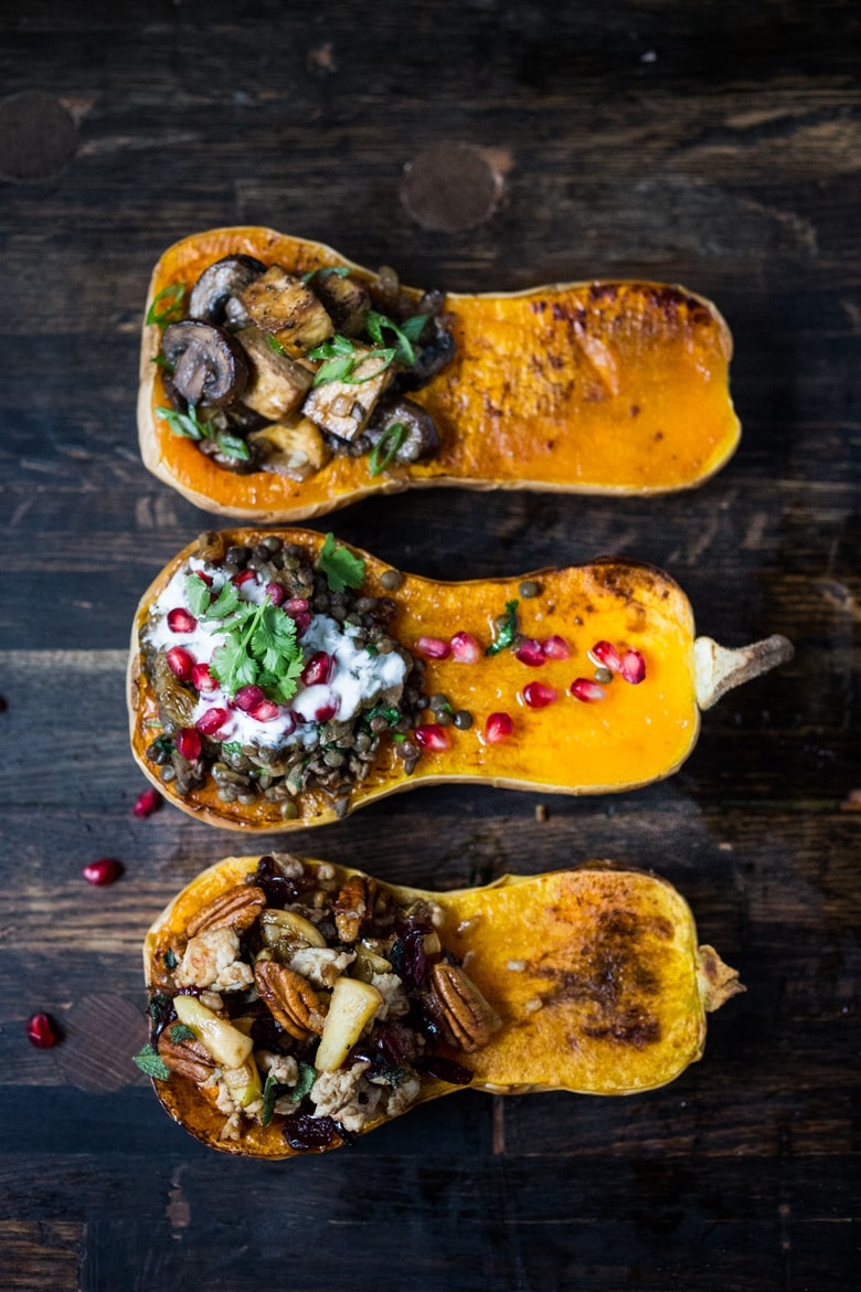 Stuffed Butternut Squash ( 3 ways!)  A delicious and healthy vegetarian dinner recipe, perfect for fall!  | PLUS 20 COZY VEGETARIAN RECIPES for Fall! www.feastingathome.com #vegetariandinner #fallrecipes