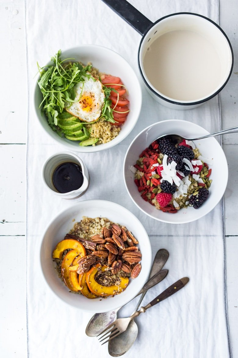 5 Morning Grain Bowls to prep ahead for the busy workweek. Healthy, gluten free and vegan adaptable. | www.feastingathome.com