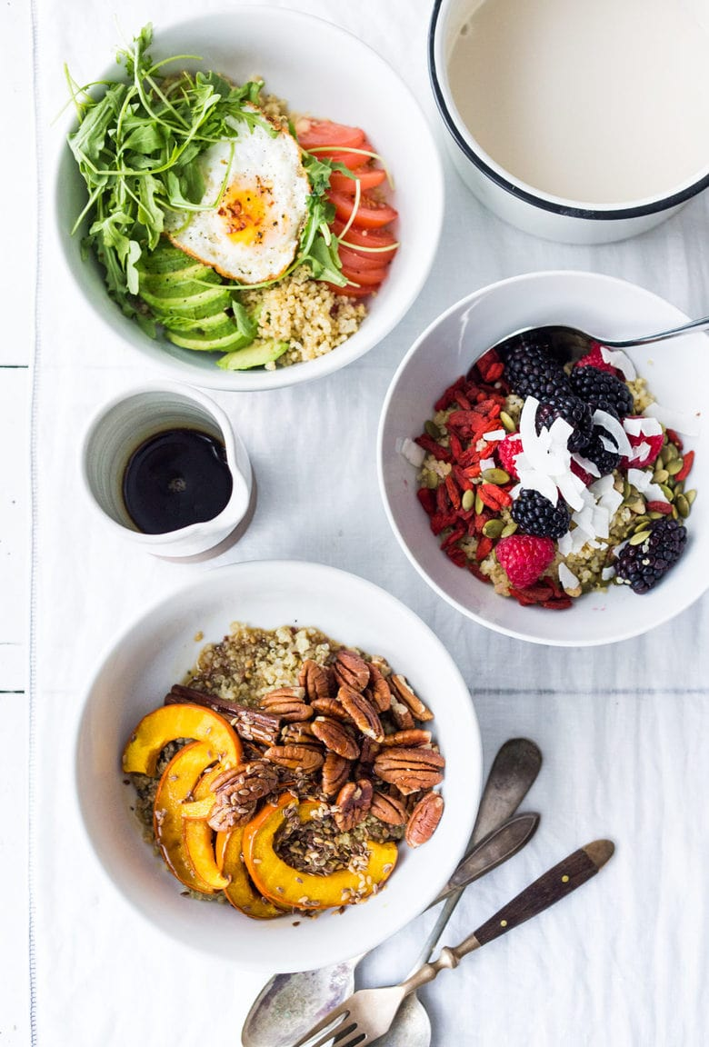 Need some Vegan Breakfast ideas? These 5, Make-Ahead, Morning Grain Bowls served up with different toppings for busy weekday breakfasts. Healthy, gluten free and vegan adaptable. #veganbreakfast #grainbowls #breakfastbowls