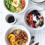 Need some Vegan Breakfast ideas? These 5, Make-Ahead, Morning Grain Bowls served up with different toppings for busy weekday breakfasts. Healthy, gluten free and vegan adaptable.#veganbreakfast #grainbowls #breakfastbowls