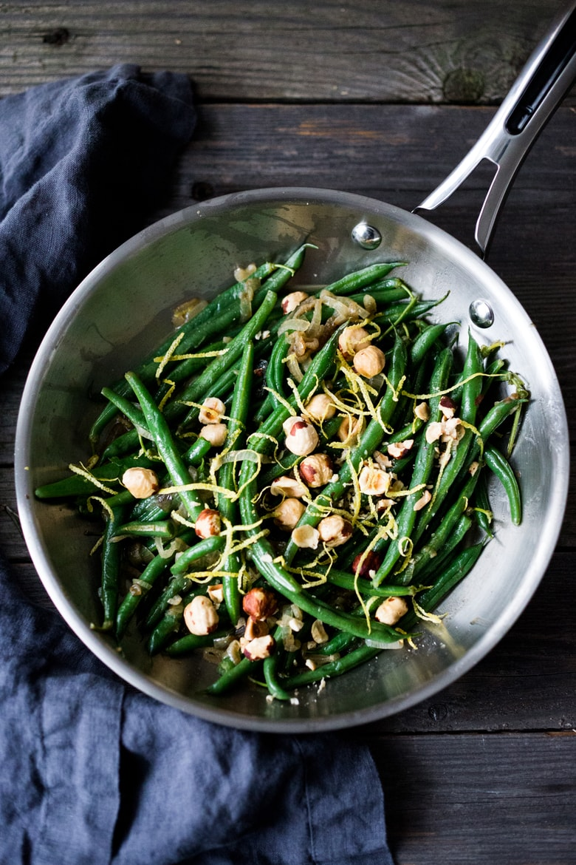 Hazelnut Green Beans with lemon zest & truffle oil | Feasting At Home