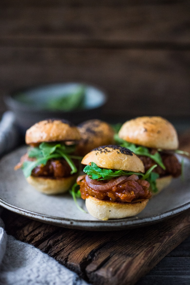 25 Mouthwatering Party Appetizers (That are NOT Boring!) Vegan BBQ Spaghetti Squash Sliders with pickled onions and arugula - a hearty vegan appetizer perfect for gatherings and parties!