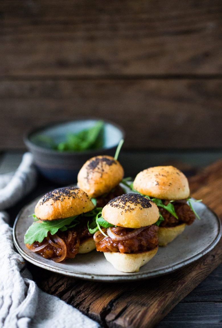 Vegan BBQ Spaghetti Squash Sliders with Pickled Onions and Arugula- a delicious healthy Superbowl recipe, made from scratch!
