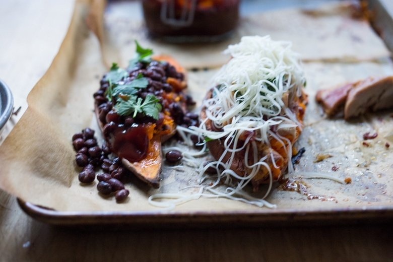 BBQ Stuffed Sweet Potatoes with your choice of chicken or black beans. Top with melty cheese or keep it vegan with avocado!