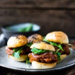 "Vegan BBQ Sliders made with delicious ""pulled"" Spaghetti Squash, Pickled Onions and Arugula- a simple, tasty and healthy alternative to pulled pork! 