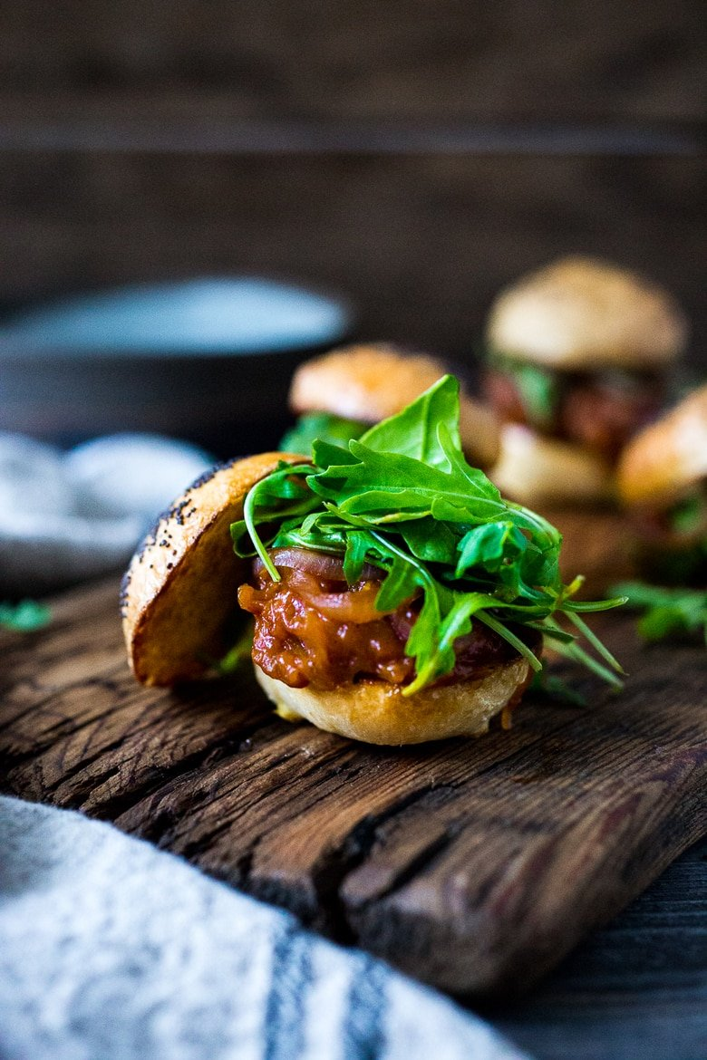 Vegan BBQ Spaghetti Squash Sliders with Pickled Onions and Arugula- a delicious healthy Super Bowl recipe! | www.feastingathome.com