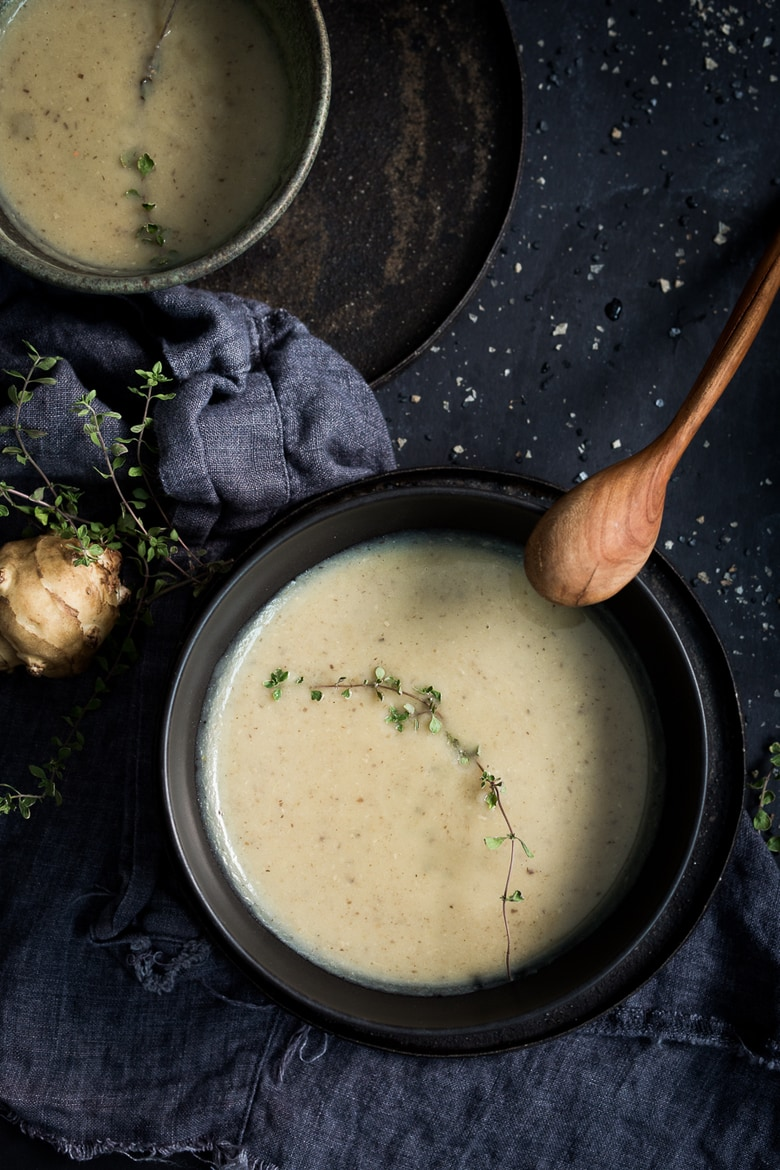 Mushroom & Sunchoke Soup with Truffle oil ...vegan and gluten-free. | www.feastingathome.com