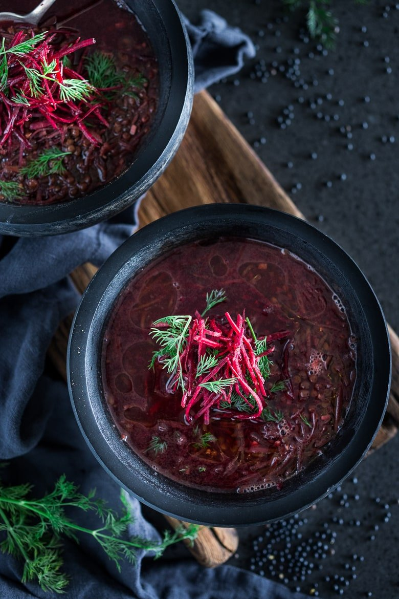 Detox Lentil Soup - this vegan, low-calorie soup, is healing and cleansing - packed full of antioxidants that aid the liver in detoxing the body. #detoxsoup #lentilsoup #vegansoup #beetsoup #detoxbroth #cleaneating #eatclean #plantbased | www.feastingathome.com