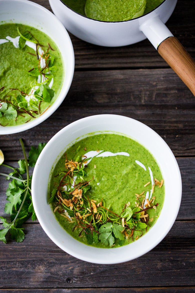 A simple delicious recipe for Thai Broccoli Soup with Coconut Milk- bursting with authentic Thai flavors. Make from scratch in 40 mins! Vegan & Gluten Free. | www.feastingathome.com